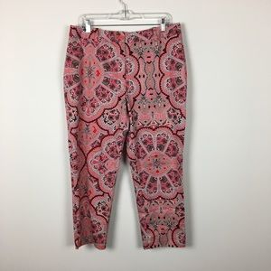 East 5th Cropped Patterned Dress Pants 16 Colorful